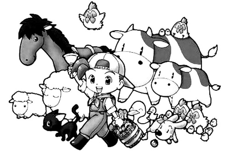 Harvest Moon Coloring in Pages 1