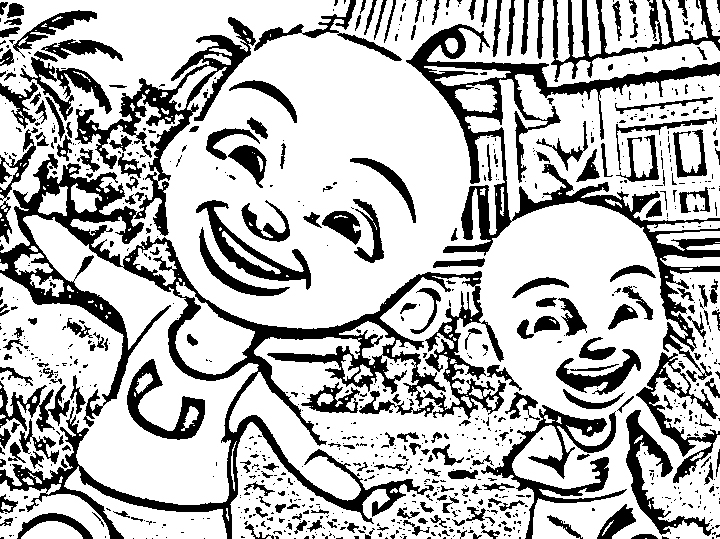 Upin Ipin Coloring in Pages 1