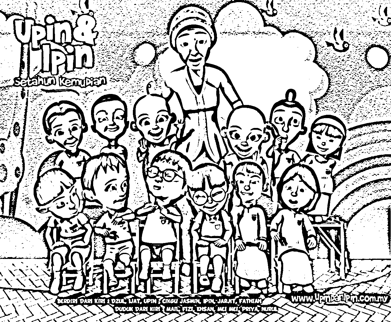 Upin Ipin Coloring in Pages 4